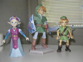big link, young link and zelda by killero94