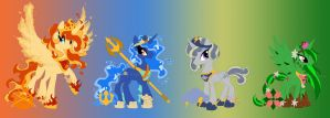 MLP:FiM Charas: Element Princess Ponies by Zephyros-Phoenix