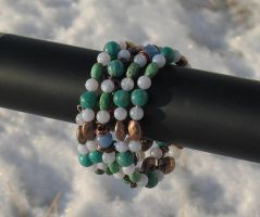Blue Green Copper Coil Bracelet Closeup 1 by Windthin