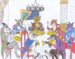Warlords Playing Poker by Kelaiah