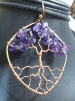 Amethyst Tree on a shield by BacktoEarthCreations