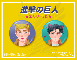 SNK: Eruri Kitties BUTTON SET by amewica