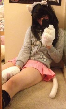 Cat Hoodie and Pink Miniskirt 01 by pastelcatboy