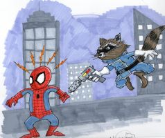 Spider-Man vs Rocket Raccoon by johnnyism