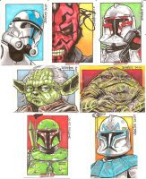 Star Wars: Color Sketch Cards by ElfSong-Mat
