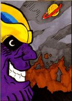Thanos sketch card by PlummyPress