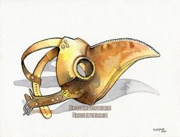 World's Watercolor Month - Day 26 : Plague mask by Hikasawr