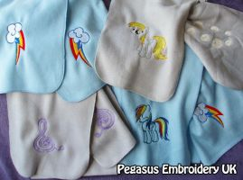 Embroidered MLP Scarves by GothyBeans