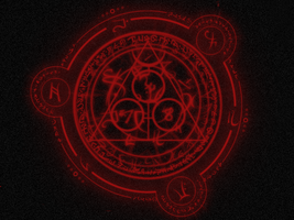 Red Runes Wallpaper by icyxeon