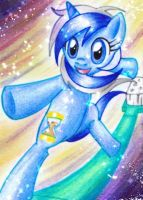 ACEO: With a toothbrush through time and space by TheUnununium
