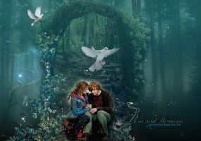 Ron and Hermione in Magical Forest by VaL-DeViAnT