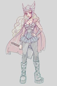 Female Thor Sketch by NoFlutter