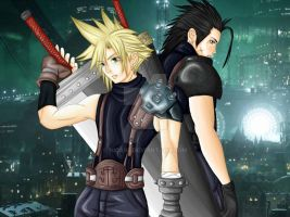 Zack and Cloud by nica95
