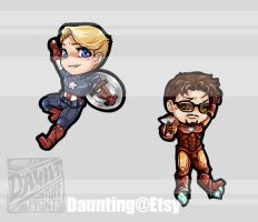 Captain America + Iron Man Bookmarks by dauntingfire