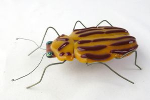 Colorado Potato Beetle  Fused Glass Sculpture 3 by trilobiteglassworks