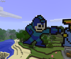 Minecraft Megaman Pixel Art by LarpLoser