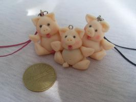 polymer clay piggy charm by Maca-mau