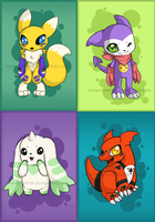 Digimon Tamers Chibi set by Fi3ndish