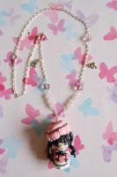 Handmade Black Butler necklace with clay charm by SimonaZ