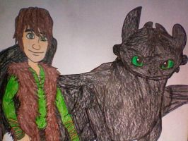 Hiccup and Toothless by Kailie2122