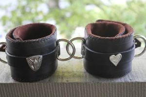 Leather Ankle Cuffs front by connerchristopher