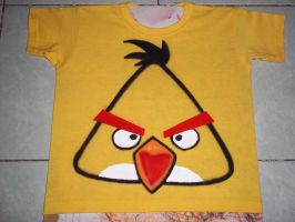 ANGRY BIRDS YELLOW T SHIRTH AIRBRUSHED by javiercr69