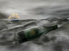 Ship in a Bottle by TheFaceArtiste