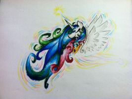 Princess Celestia marker sketch by XTiMe-WaRpEdX
