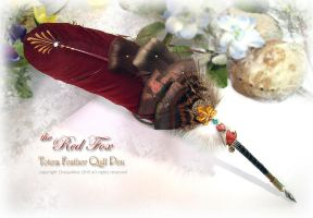 RED FOX Feather Pen by ChaeyAhne