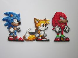 Sonic, Tails, Knuckles by 8-BitBeadsStudio