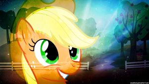 Happy Applejack Wallpaper by FlipsideEquis