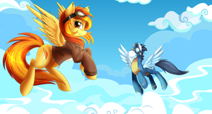 Spitfire And Soarin Background (Vector Art) by DawnRiderTheBrony
