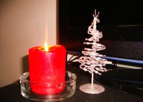 Candle and small tree by Laura-in-china