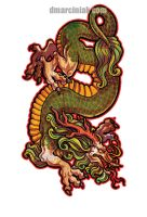 Eastern Dragon Sticker by dmillustration