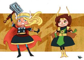 Thor and Loki Girls by theGorgonist