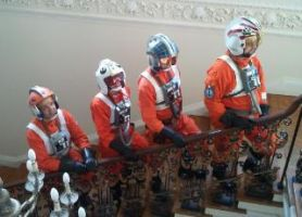 X-wing Rebel pilots on stairs by locomotiva