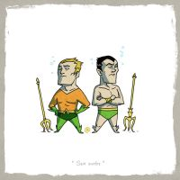 Little Friends - Aquaman and Namor by darrenrawlings
