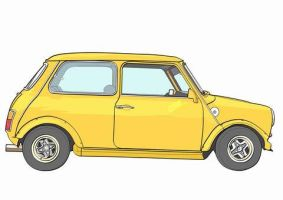 Yellow Mini No Polka Dots Coop by ferrari2006extreme