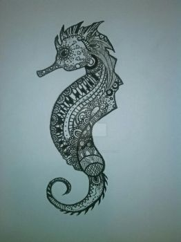 Zentangle Seahorse by WanderingClueless