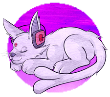 catnaps and headphones by Tazli