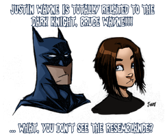 Batman and Justin by MyDyingRose
