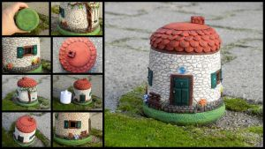 Candle lantern litlle house by Polymeranna