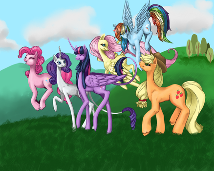 Mane Six Group Pic and Headcanon by LuckyOrigamiStars