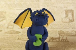 Miniature Blue Clay Letter Dragon by lizayle