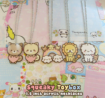 Acrylic necklaces by SqueakyToybox