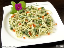 Tagliatelle with spinach and caviar by PaSt1978