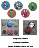 Avenger Kitty Button Set by NeroStreet