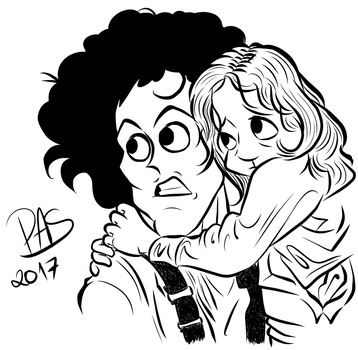 Aliens, Ripley and Newt caricature lineart by pedro-amaral-couto