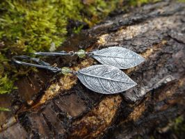 Elven Earrings w/Peridot - Fine Silver Sassafras by QuintessentialArts