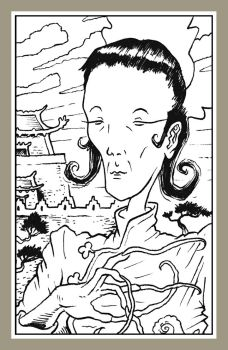 Mini portrait - Chinese empress and palace by Rode-Egel